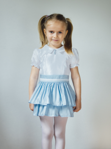 Kurs szycia - sukienka dla dziewczynki - wersja z falbaną i kokardą