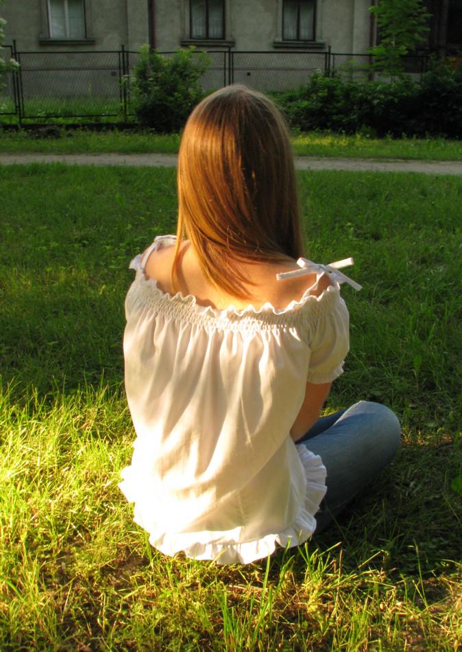 Upcycling - kurs szycia - bluzka ze starej koszuli