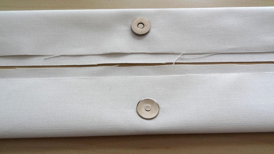 Szycie torby - tutorial - zamocowane zapięcie magnetyczne