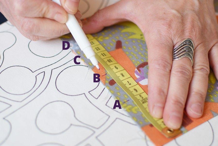 Szycie maseczki bawełnianej - tutorial - oznaczenie zakładek - drugi bok maseczki