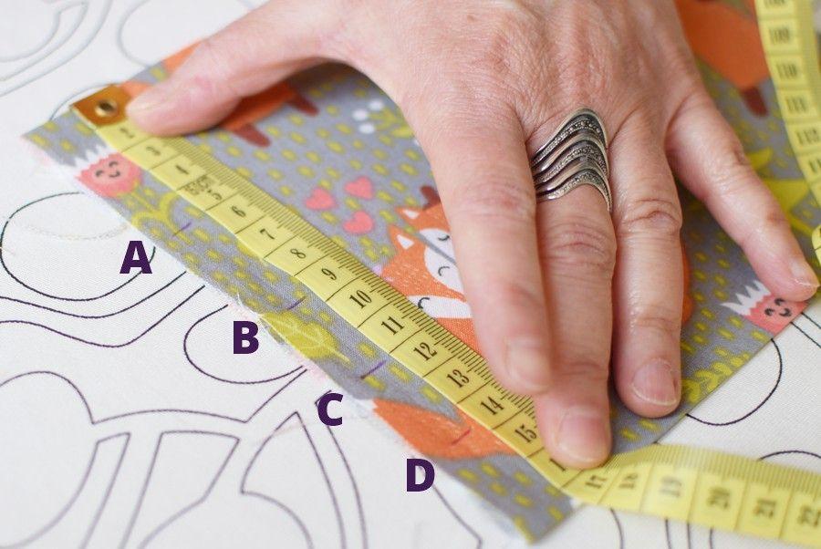 Szycie maseczki bawełnianej - tutorial - prawa strona - wierzch maseczki - oznaczenie zakładek