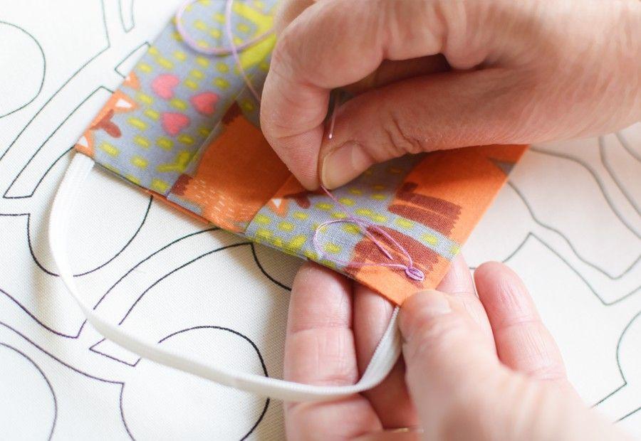 Szycie maseczki bawełnianej - tutorial - szycie ręczne - szew francuski - ścieg łańcuszkowy