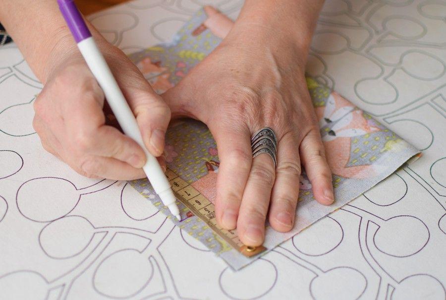 Szycie maseczki bawełnianej - tutorial - oznaczenie - długość przeszycia