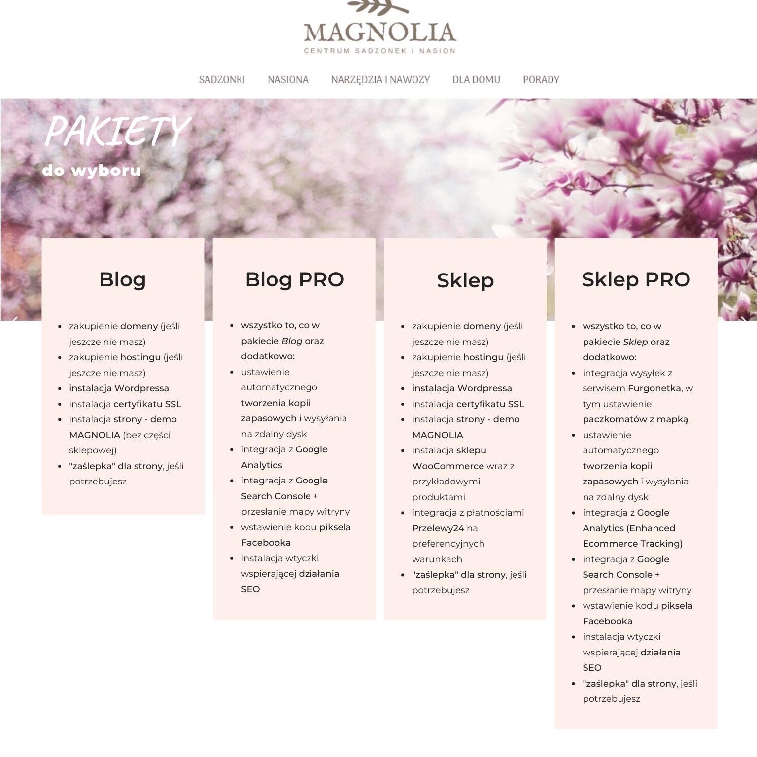Strona na gotowo - Magnolia - pakiety